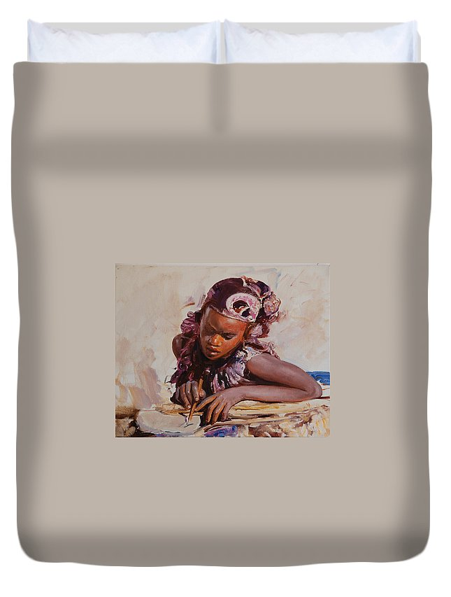 Portrait Duvet Cover featuring the painting Africa by Sefedin Stafa