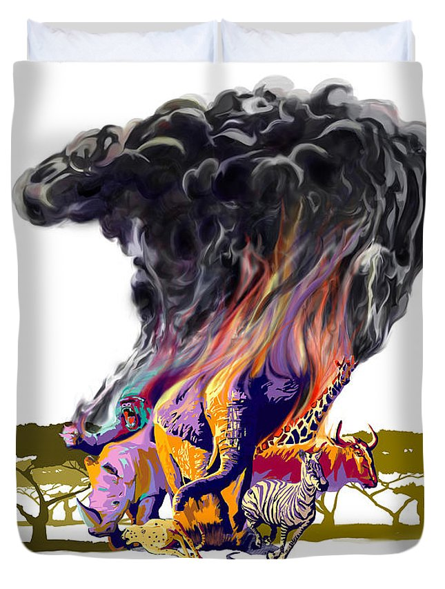 Africa Duvet Cover featuring the digital art Africa Up In Smoke by Sassan Filsoof