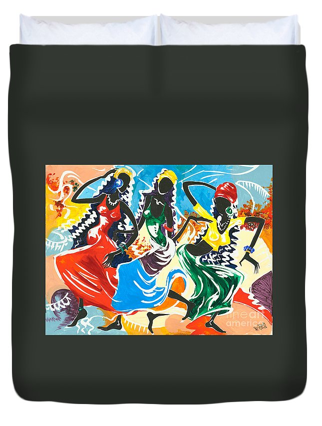 Canvas Prints Duvet Cover featuring the painting African Dancers No. 2 by Elisabeta Hermann