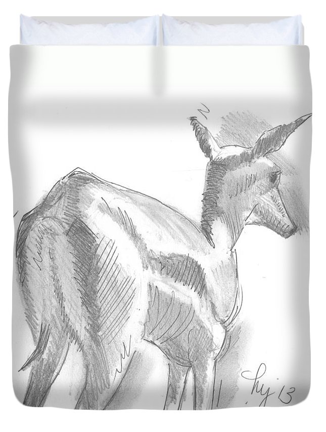 Deer Duvet Cover featuring the drawing African Deer Drawing by Mike Jory