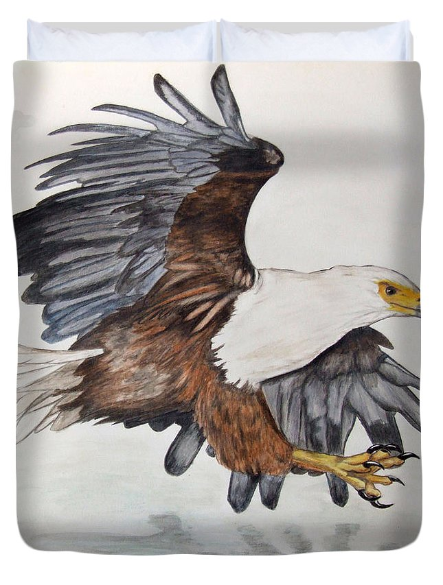 African Fish Eagle Duvet Cover featuring the painting African Fish Eagle by Tracey Beer