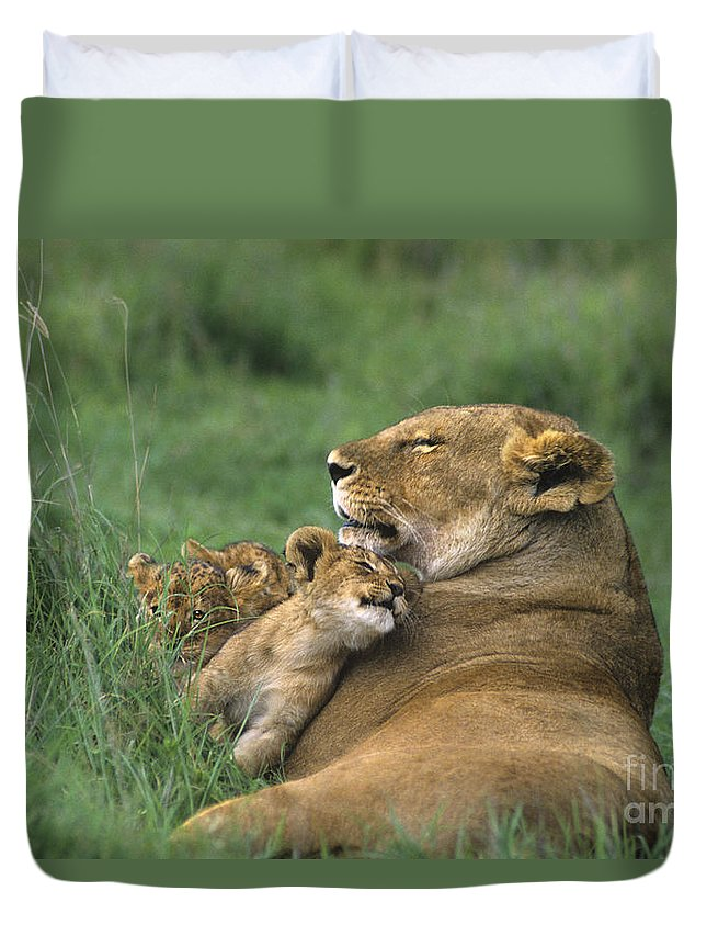 Africa Duvet Cover featuring the photograph African Lions Mother And Cubs Tanzania by Dave Welling