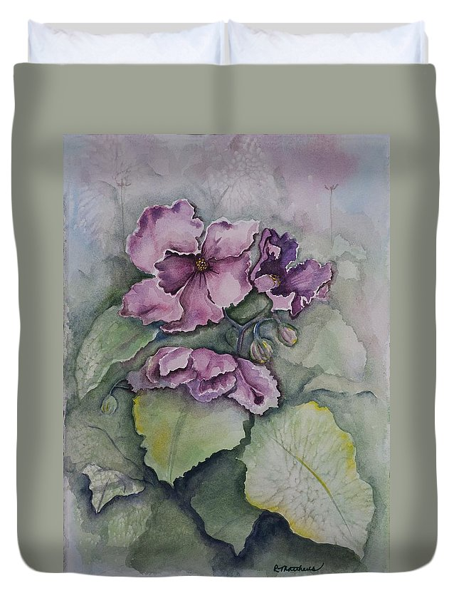 Fine Art Floral Duvet Cover featuring the painting African Violets by Rebecca Matthews