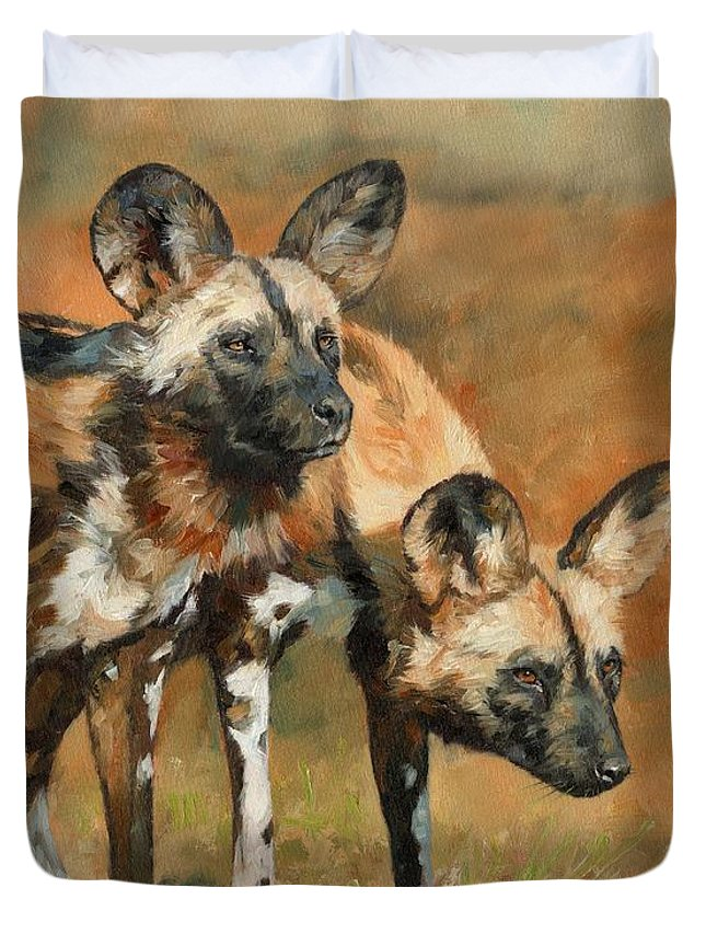 Wild Dogs Duvet Cover featuring the painting African Wild Dogs by David Stribbling
