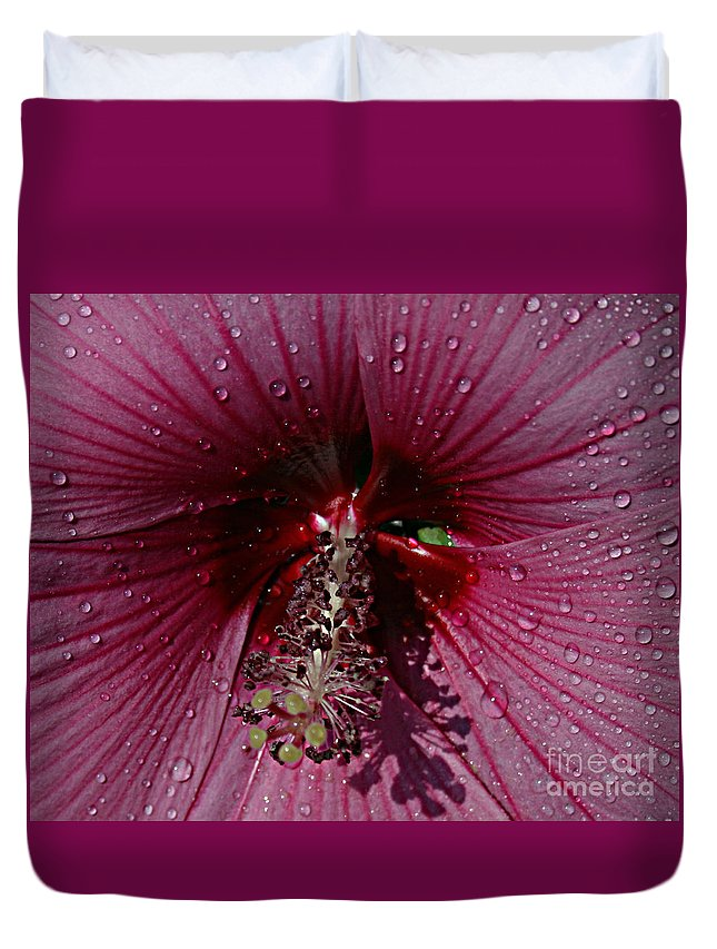 Flower Duvet Cover featuring the photograph After A Rain by Kathy DesJardins