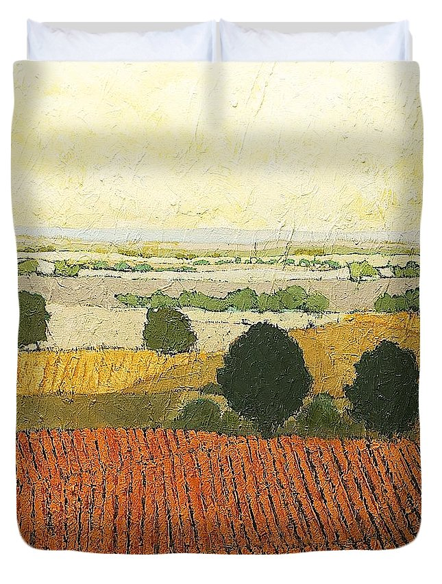 Landscape Duvet Cover featuring the painting After Harvest by Allan P Friedlander