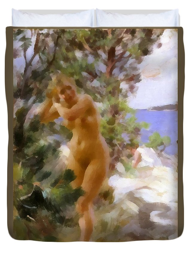 Anders Zorn Duvet Cover featuring the digital art After The Bath 2 by Anders Zorn
