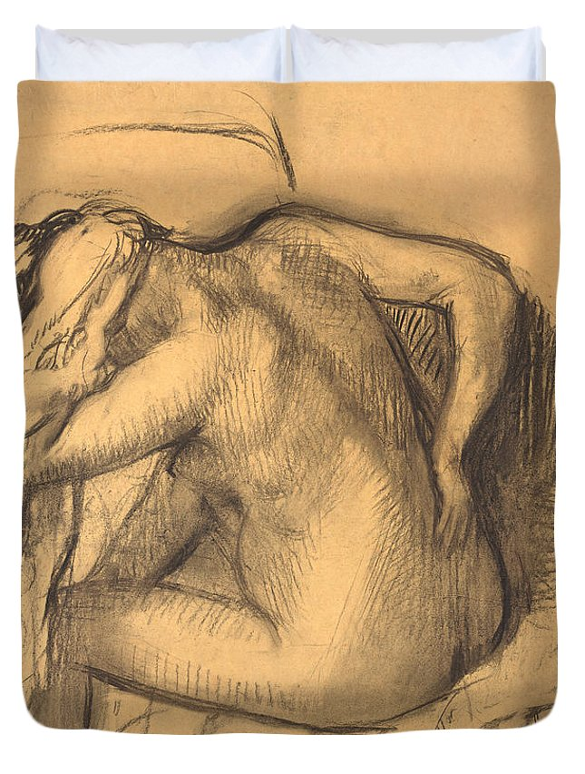Edgar Degas Duvet Cover featuring the drawing After The Bath .woman Drying Her Hair by Edgar Degas