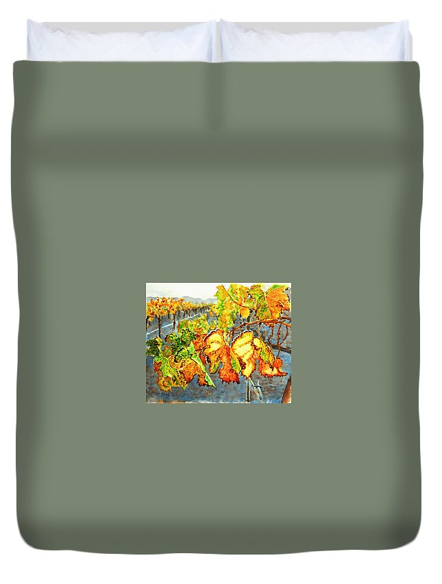 Vineyard Duvet Cover featuring the painting After The Harvest by Karen Ilari