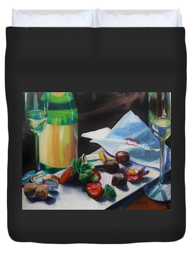 Wine Duvet Cover featuring the painting After The Party by Donna Tuten