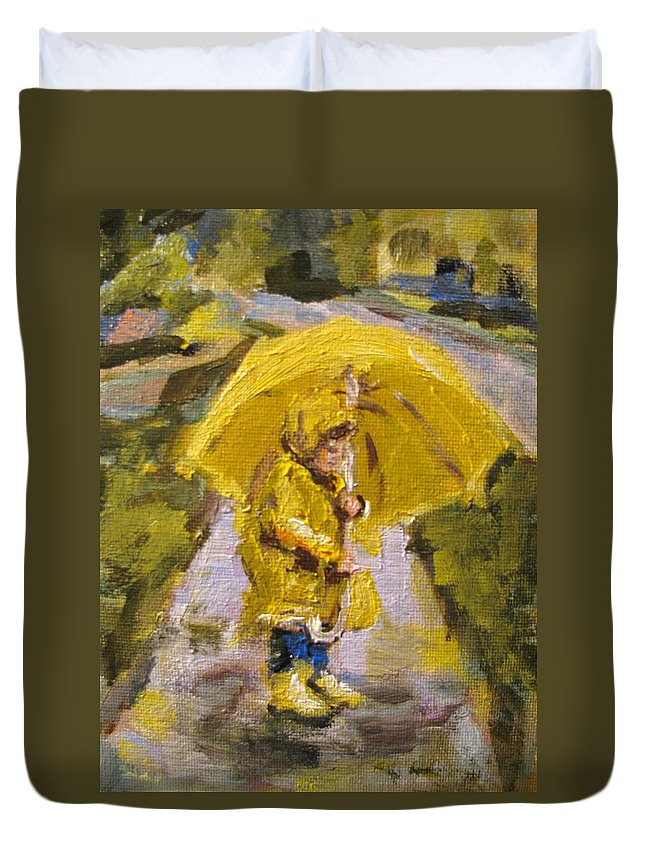 Children Duvet Cover featuring the painting After The Rain by Susan Elizabeth Jones