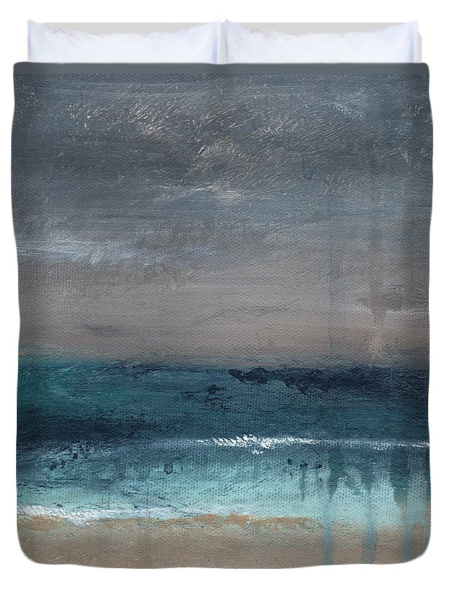 Abstract Landscape Duvet Cover featuring the painting After The Storm- Abstract Beach Landscape by Linda Woods