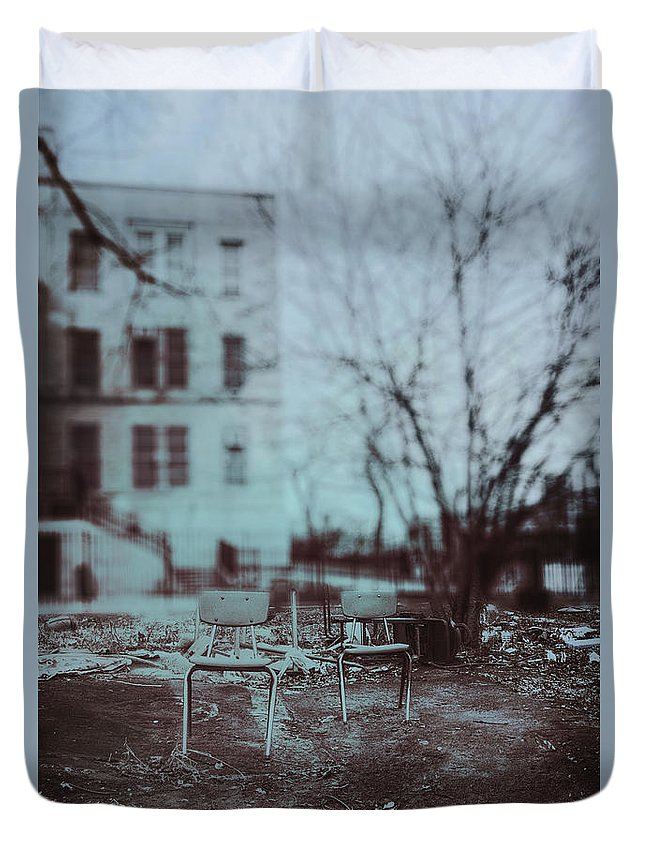 Chairs Duvet Cover featuring the photograph After The Storm by Margie Hurwich