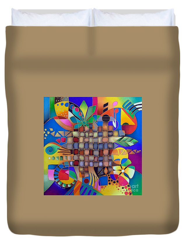 Fiji Islands Duvet Cover featuring the painting After Unexpected Rain by Maria Rova