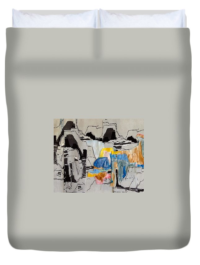 Palo Duro Canyon Duvet Cover featuring the painting Afterimage - Palo Duro Canyon - Number Twelve by Sandra Gail Teichmann-Hillesheim