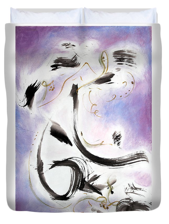 Abstract Painting Duvet Cover featuring the painting Aftermath by Asha Carolyn Young