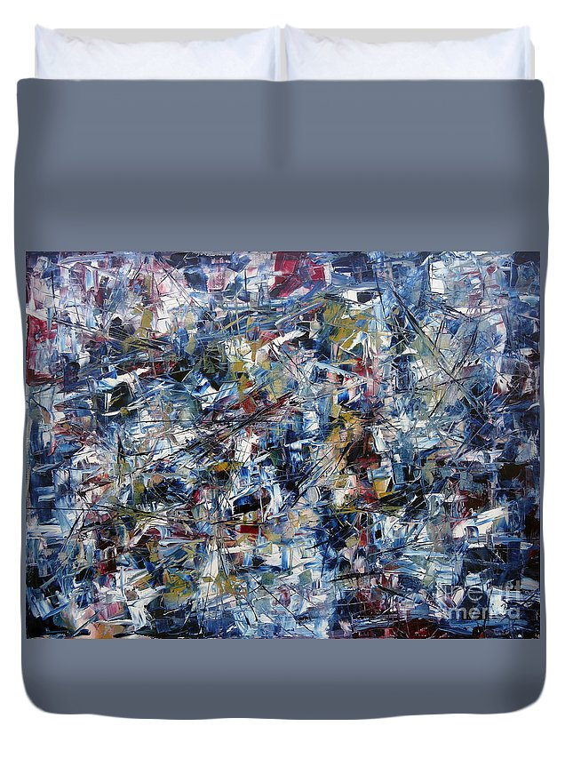 Abstract Duvet Cover featuring the painting Aftermath by Jeffrey Williams