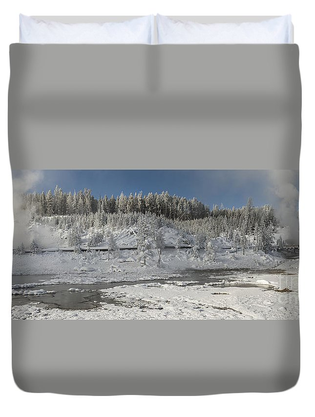 Pano Duvet Cover featuring the photograph Afternoon At Mud Volcano Area - Yellowstone National Park by Sandra Bronstein