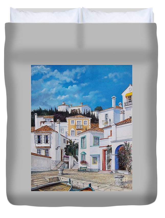 Cityscape Duvet Cover featuring the painting Afternoon Light In Montenegro by Sinisa Saratlic