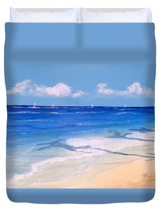 Beach Duvet Cover featuring the painting Afternoon Regatta by Nancy Nuce