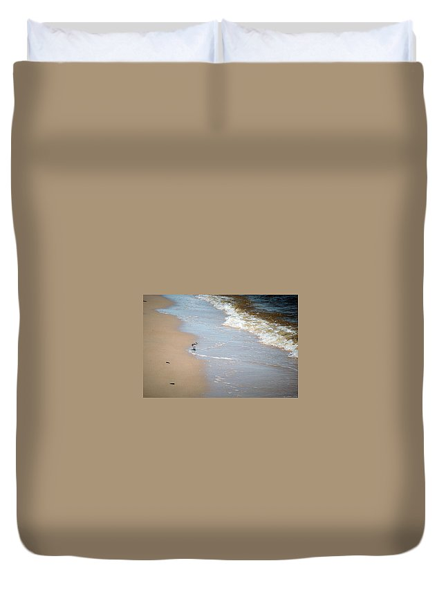 Long Beach Duvet Cover featuring the photograph Afternoon Stroll by Sennie Pierson