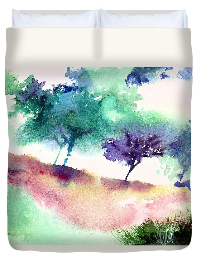Black Duvet Cover featuring the painting Against Light 1 by Anil Nene