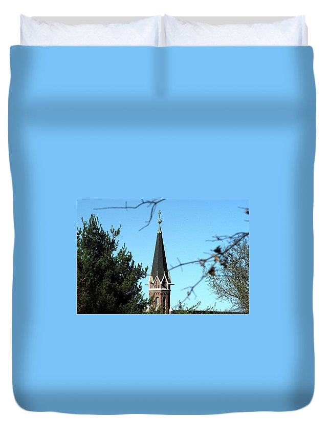 Catholic Church Duvet Cover featuring the photograph Against The Sky by Joseph Yarbrough