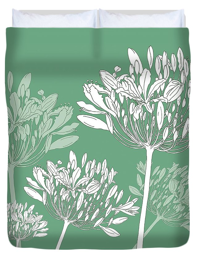 Agapanthus Duvet Cover featuring the painting Agapanthus breeze by Sarah Hough