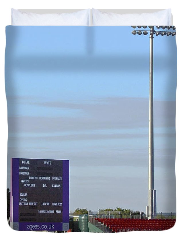 Floodlight Duvet Cover featuring the photograph Ageas Bowl Score Board And Floodlights Southampton by Terri Waters