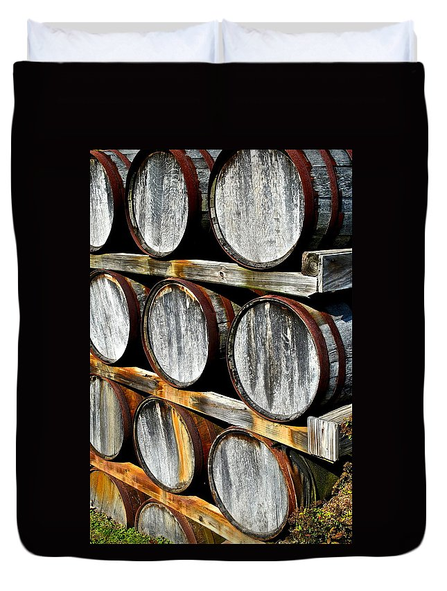 Wine Duvet Cover featuring the photograph Aged Wine by Frozen in Time Fine Art Photography