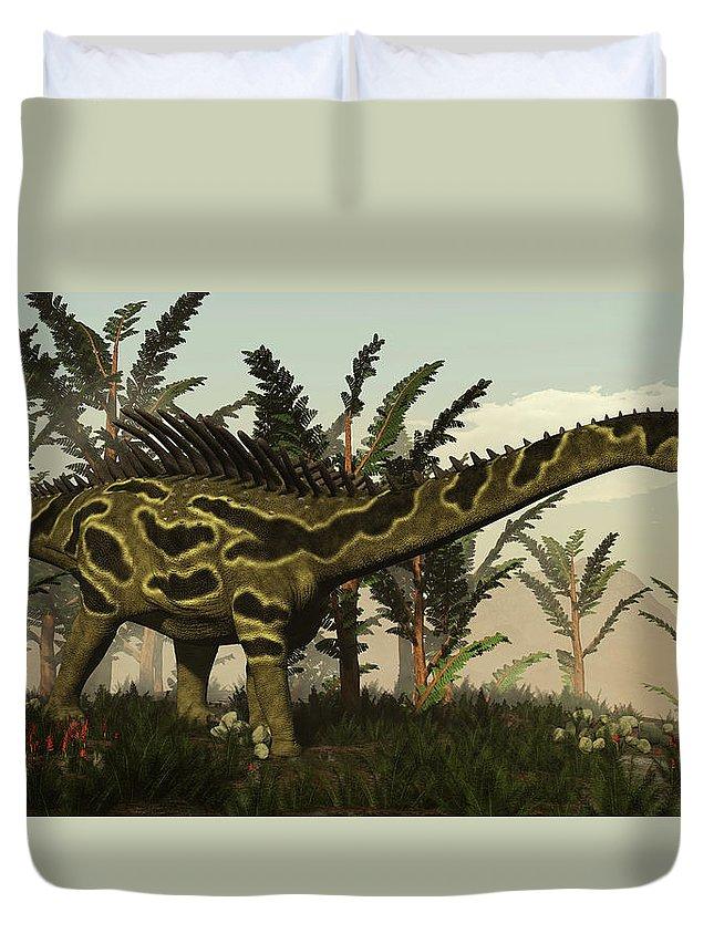Dinosaur Duvet Cover featuring the photograph Agustinia Dinosaur Walking Amongst by Elena Duvernay