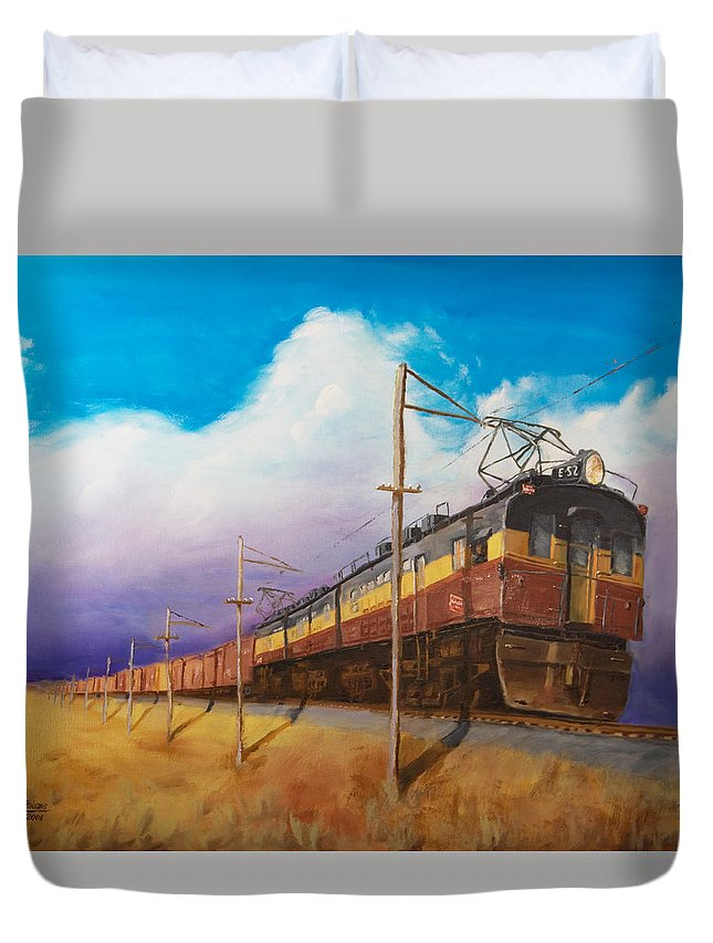 Electric Locomotive Duvet Cover featuring the painting Ahead Of The Weather by Christopher Jenkins