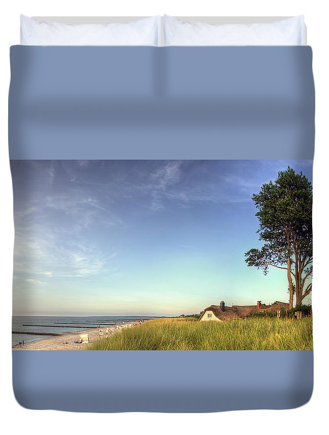Ostsee Duvet Cover featuring the pyrography Ahrenshoop by Steffen Gierok