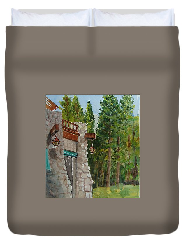 Hotel Duvet Cover featuring the painting Ahwahnee Woods by Karen Coggeshall