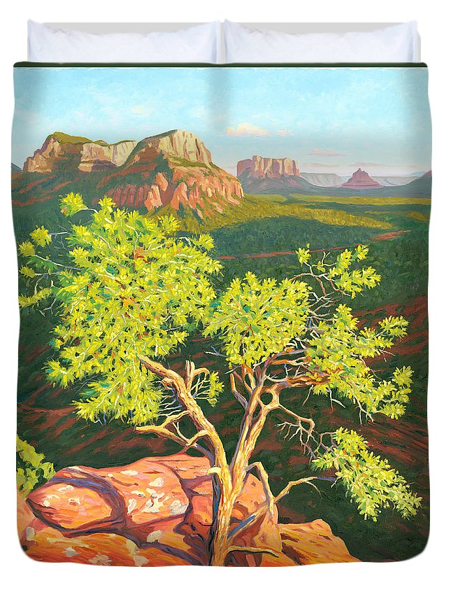 Pinion Pine Tree Duvet Cover featuring the painting Airport Mesa Vortex - Sedona by Steve Simon