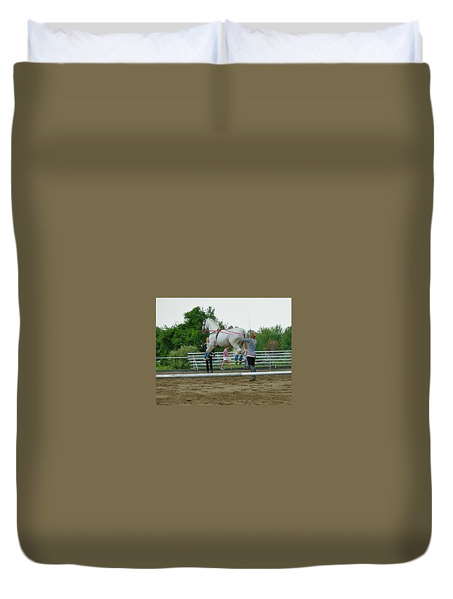 Royal Lipizzaner Duvet Cover featuring the photograph Airs Above The Ground by Susan Wyman
