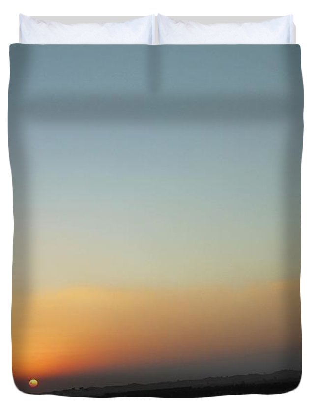 Sunset Duvet Cover featuring the photograph Al Ain Desert 2 by Mario MJ Perron