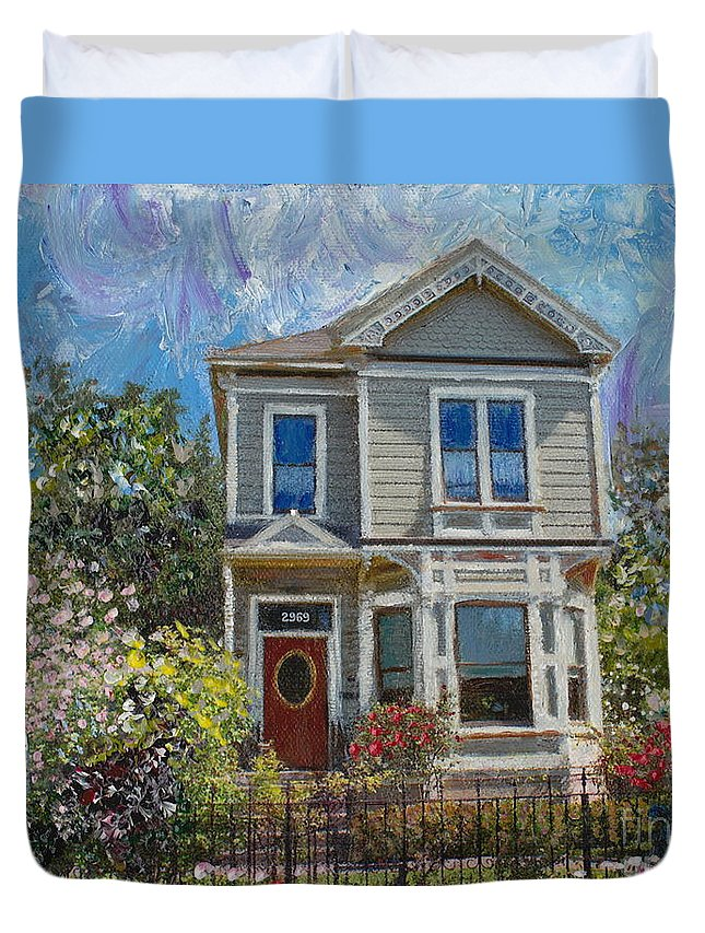 1892 Duvet Cover featuring the painting Alameda 1892 Queen Anne by Linda Weinstock