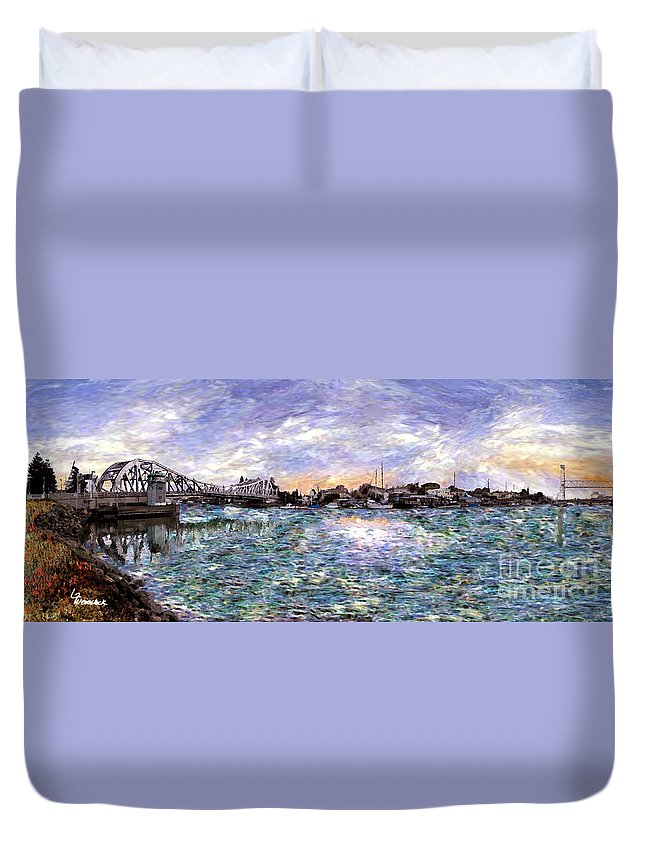 Alameda Duvet Cover featuring the painting Alameda High Street Bridge by Linda Weinstock