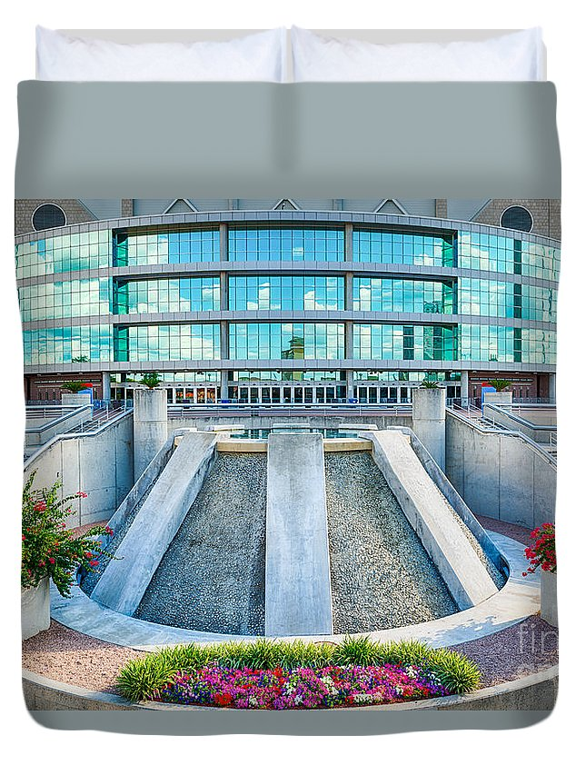 Alamodome Duvet Cover featuring the photograph Alamodome In San Antonio by Tod and Cynthia Grubbs