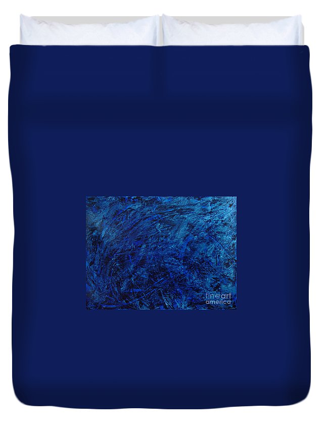 Abstract Duvet Cover featuring the painting Alans Call by Dean Triolo