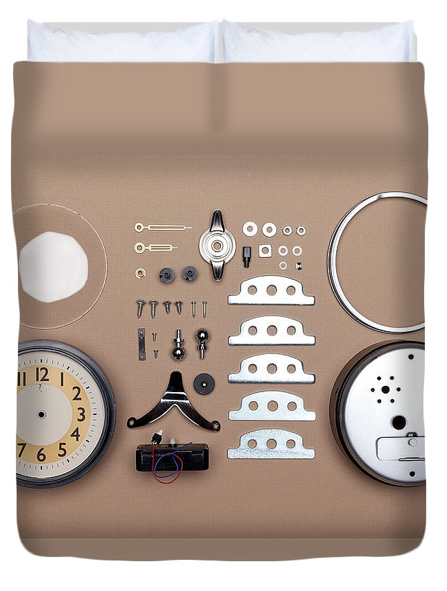Instrument Of Time Duvet Cover featuring the photograph Alarm Clock Broken Down Into Individual by William Andrew