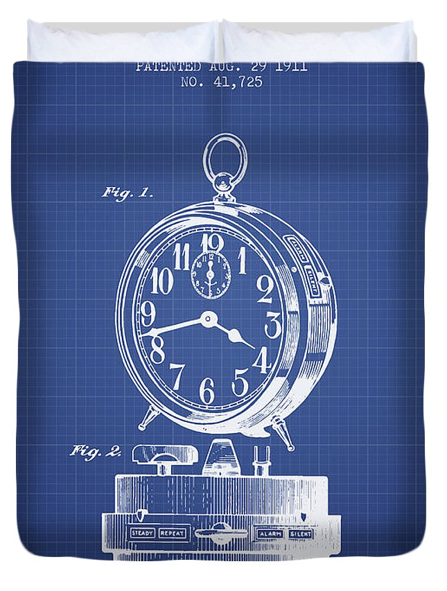 Alarm clock patent from 1911 blueprint duvet cover for sale by alarm clock duvet cover featuring the digital art alarm clock patent from 1911 blueprint by malvernweather Gallery