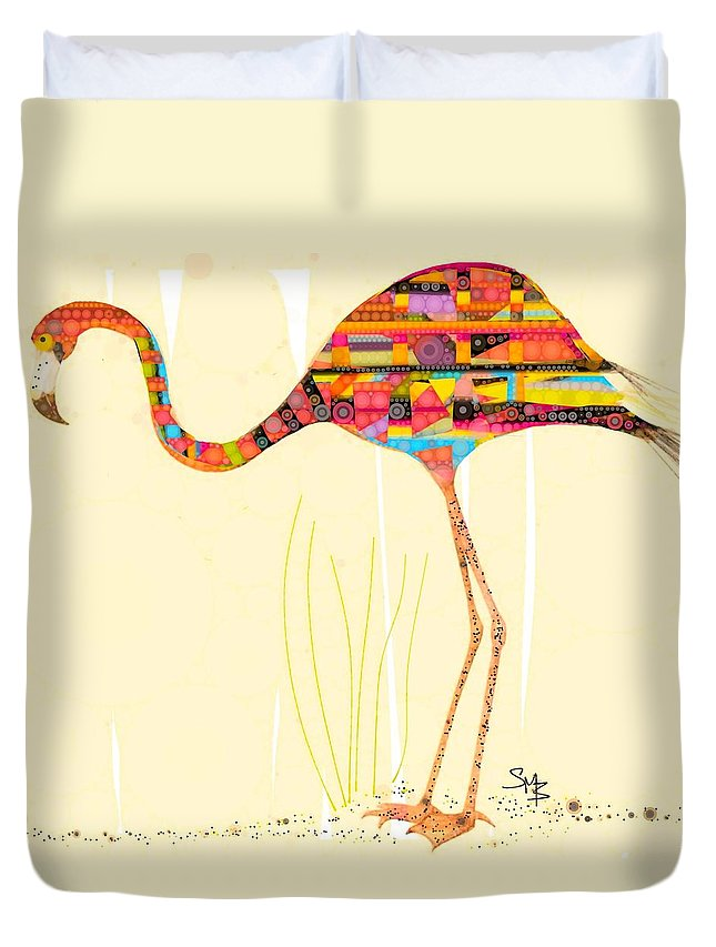 Flamingo Comprised Of Many 1970's Decors Compacted Into One Beautiful Piece... The Bird Is A Great Conversation Starter For Those Ill At Ease... Duvet Cover featuring the digital art Alas The Day by Steven Boland