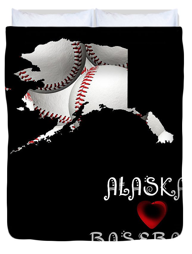 Andee Design Duvet Cover featuring the digital art Alaska Loves Baseball by Andee Design