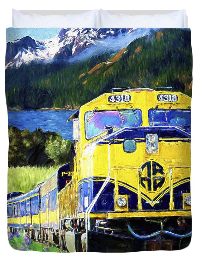 Railroad Duvet Cover featuring the painting Alaska Railroad by David Wagner