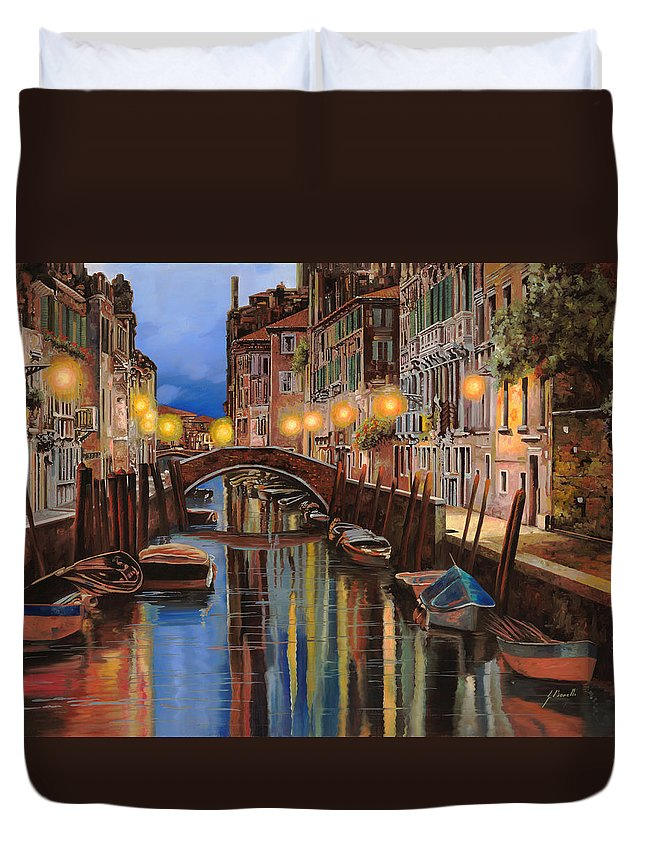 Venice Duvet Cover featuring the painting alba a Venezia by Guido Borelli