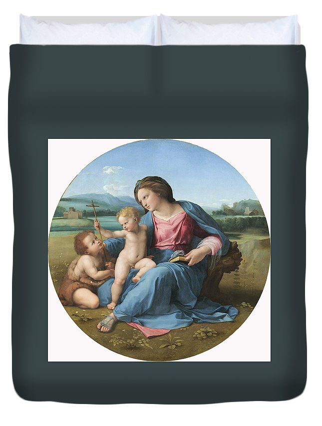 Raphael Duvet Cover featuring the painting Alba Madonna by Raphael