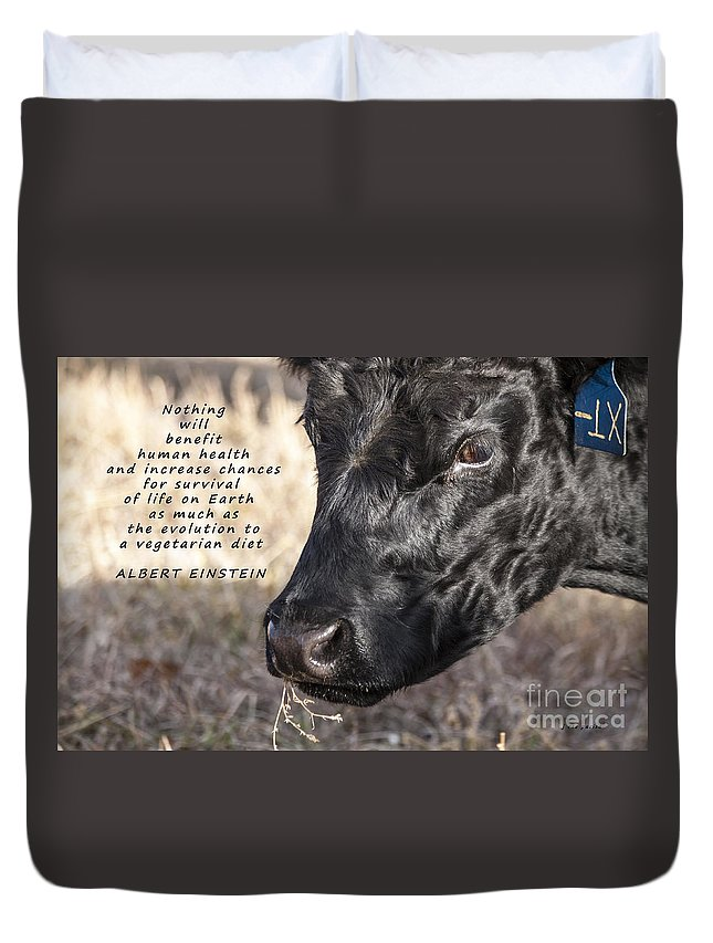 Diet Duvet Cover featuring the photograph Albert Einstein Says by Janice Pariza