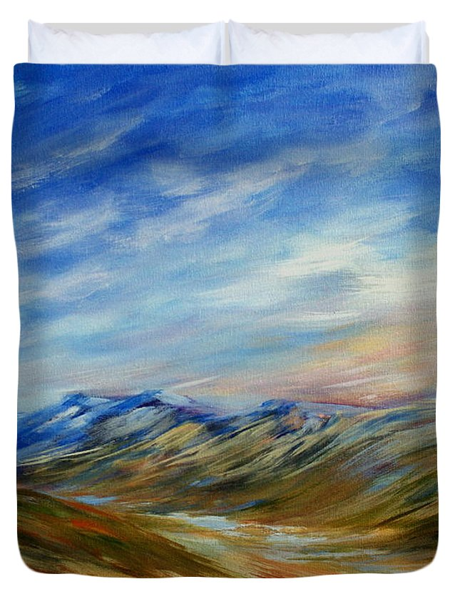 Alberta Moment Duvet Cover featuring the painting Alberta Moment by Joanne Smoley